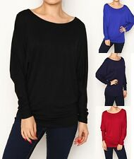 Loose Fit Casual Jersey Dolman Kimono Long Sleeve Top Slouchy Knit T-shirts TOP