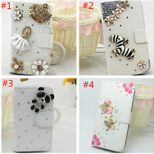 3D Pearls Diamonds crystal PU leather flip stand wallet cover Case skin for HTC
