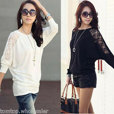 Korean Fashion Women's Batwing Top Dolman Lace Loose T-Shirt Blouse Long Sleeve