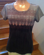Royal Robbins Woodblock Art-To-Wear Geometric Hippie Shirt Brown 61792 S NWT