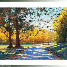Listed artist  !! SUNNY AUTUMN OIL CANVAS PAINTING ROAD MT WILSON BLUE MOUNTAINS