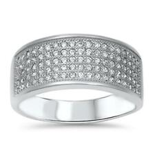 925 Sterling Silver Elegant Wedding Shiny Pave Set Clear CZ Wide Ring Size 3-11