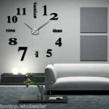 3 Color DIY Large Wall Clock 3D Mirror Surface Sticker Home Decor Gift Creative