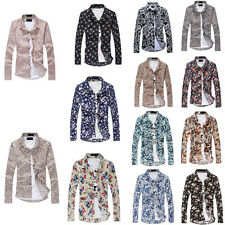 Mens Long Sleeve Flower Printing Regular Collar Spring Tops Slim Casual Shirts