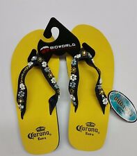 BIOWORLD CORONA EXTRA YELLOW BEER MEXICO SANDALS FLIP FLOPS WOMEN US SIZE 5-7