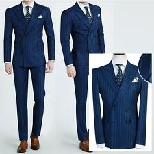 STRIPED NAVY BLUE formal men s slimfit suits double breasted wedding suit US UK