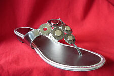 Anne Klein Achacie Wedge Low (3/4 in. to 1 1/2 in.) Sandal Thong Pewter Sz: 8M