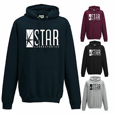 STAR LABORATORIES HOODED TOP THE FLASH TV S.T.A.R. LABS FAN JUMPER HOODIE NEW