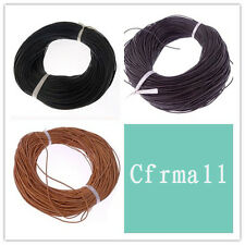 Free Shipping 1mm Real Round Leather Cord For Necklace Bracelet 5/10/50/100M