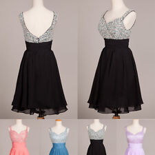 LONDON CHEAP Short Evening Bridesmaid Dress Formal Party Prom Ball Gown Cocktail