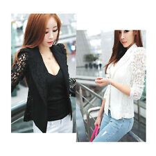 Women Spring Slim Long Sleeve Lace Casual Coat Jacket OL Blazer Suit Top Outwear