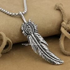 316L Stainless Steel Huge Feather Mens Biker Pendant AJ018A