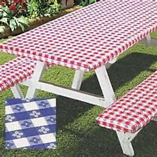 3pc Picnic Table & bench seat Cover Elastic Fitted Vinyl outdoor 5 ft tablecloth