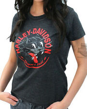 Harley-Davidson Ladies Super Fast Cat Graphic Charcoal Grey Short Sleeve T-Shirt