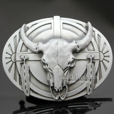 Indian Western Vintage Native Feather Cow Bull OX Horn Buffalo Skull Belt Buckle