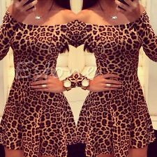 Women Sexy Lady Summer Dress Strapless Dress Leopard Print Cocktail Party Dress