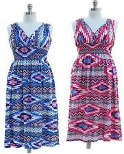 Jon Anna Womens Plus  Aztec Summer Dress Sleeveless Jersey Knit Stretch 1X 2X 3X