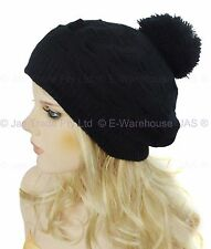 Girls Ladies Knit Knitted Beehive Puff Popcorn Beret Beanie Hat Pom Pom Angora