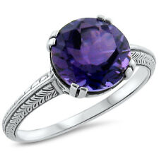 3.5 CT. LAB AMETHYST ANTIQUE ART DECO DESIGN .925 STERLING SILVER RING,     #292