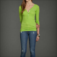 NWT Abercrombie A&F Ribbed Henley Tee M L Top Shirt Green Long Sleeve NEW
