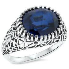 6 CT. BLUE LAB SAPPHIRE ANTIQUE DESIGN .925 STERLING SILVER FILIGREE RING,  #202