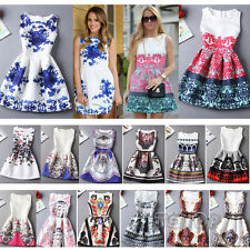Womens Casual Dress Vintage Palace Floral Printing Bodycon Evening Party Dresses