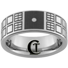 8mm Pipe Tungsten Doctor Who Tardis Ring With Saying On Back Sizes 4-17