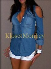 SEXY CHAMBRAY LIGHT BLUE JEANS COLD SHOULDER SNAP COLLAR SHIRT FADE URBAN TOP