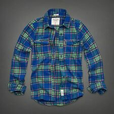 NWT Abercrombie A&F Plaid Flannel Shirt M L XL Button Down Green Blue NEW