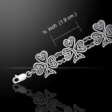 Celtic Knotwork Irish Shamrock Bracelet - Crafted in Sterling Silver