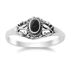 Women's Vintage Design Black Onyx Ring New .925 Sterling Silver Band Sizes 4-10