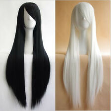 Fashion Women Full Long Straight Cosplay Wig Black/White 80/100cm Heat Resistant