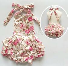 Baby Infant Girls Floral Ruffles Romper Birthday Wedding Party Outfits Jumpsuit