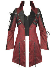 Punk Rave Poison Jacket Mens Red Black Faux Leather Goth Steampunk Military Coat