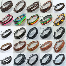 Wholesale Black Brown Leather Bracelet Adjustable Wristband Friendship Bangles