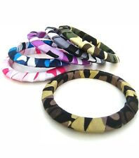 CAMOUFLAGE Wrapped Fabric PLUS SIZE Wide Opening QUEEN SIZE XXL BANGLE BRACELET