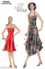 Vogue 8065 Strapless & Halter Dress with Flared Skirt - Easy Sewing Pattern