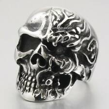 316L Stainless Steel Skull Mens Biker Rocker Ring 2J050A Punk Jewelry