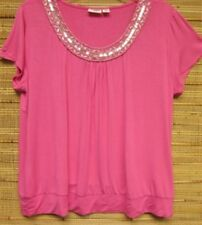 Cato Hot Pink Silver Sequined Beaded Rayon Knit Top Tee 18/20 22/24 New Plus