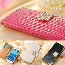 Luxury Diamond Magnetic Bling Flip Wallet PU Leather Case Cover