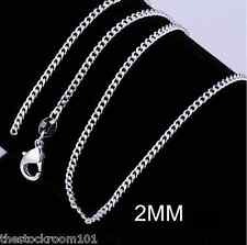 "2MM 925 STERLING SILVER CURB CHAIN NECKLACE 16 18 20 22 24 26 28 30"" INCH FLAT"
