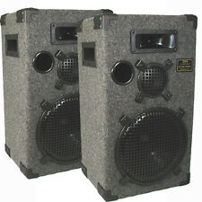 Podium Pro Audio DJ PA Band 3 Way Speakers Pair Grey Carpet New D1200C