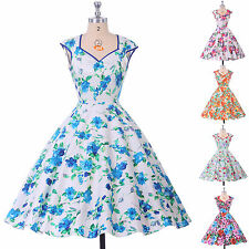 FLORAL 50'S 60'S ROCKABILLY SWING PINUP PARTY HOUSEWIFE VINTAGE STYLE PROM DRESS