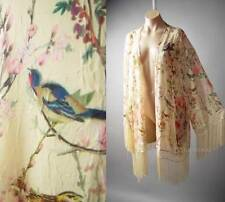 Vtg-y 20s Japanese Asian Floral Bird Print Fringe Kimono 137 mv Jacket 1X 2X 3X