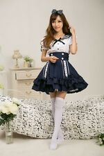 Girls School Maid Costume Cosplay Kostüm Student Uniform Sailor Dress Blau
