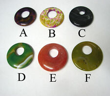 choice of 6 :  Fire Agate Banded agate Dragon veins donut pendant bead necklace