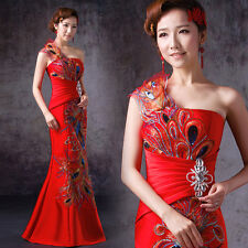 Formal Evening Dresses Mermaid Prom Chinese Wedding Dress Peacock Feathers Y370F
