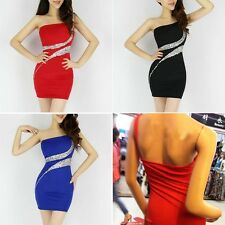 Sexy Womens Cocktail Dress One Shoulder Rhinestone Stretch Party Evening Dresses
