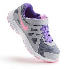 NEW Girl's Youth NIKE REVOLUTION 2 Gray/Pink Athletic Sneakers Velcro Shoes