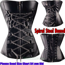 Sexy Fashion Zip Leather Corset Lace up Gothic Overbust Bustier Chain Black S-6X